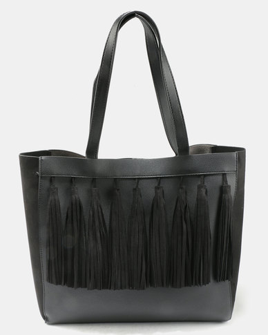 New Look Taylor Tassel Front Tote Black