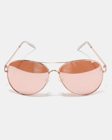 New Look Mirrored Pilot Sunglasses Rose Gold-tone