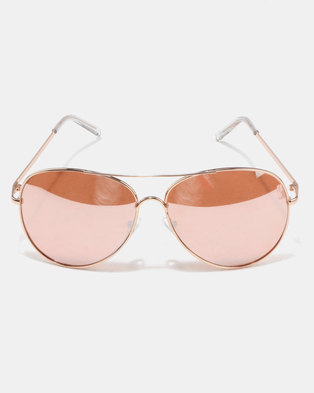 New Look Mirrored Pilot Sunglasses Rose Gold-tone