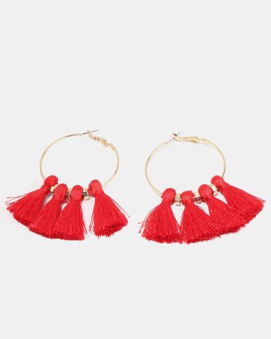 New Look Tassel Hoop Earrings Bright Red