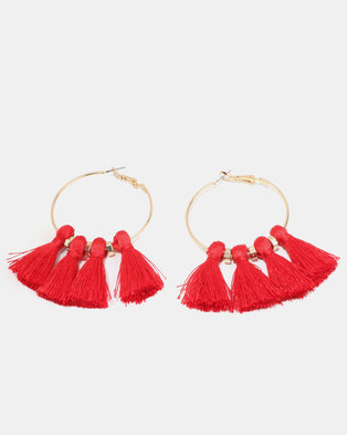 New Look Tassel Hoop Earrings Bright Red