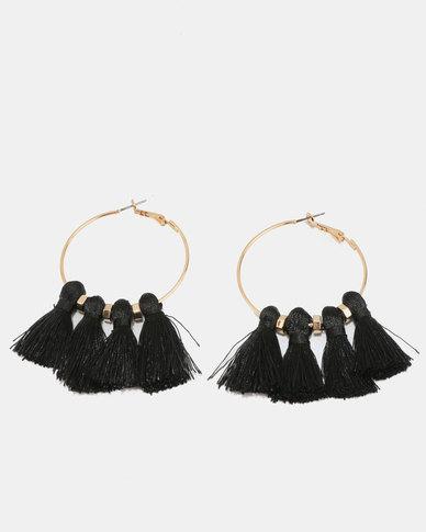 New Look Tassel Hoop Earrings Black