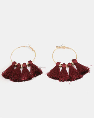 New Look Tassel Hoop Earrings Dark Burgundy
