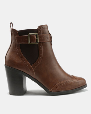 New Look Crogue BRGE MTL Ankle Boots Tan