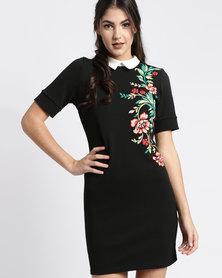 New Look Puff Print Collar Tunic Black