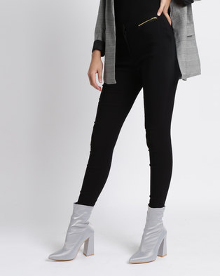 New Look Long Length Zip Trim Stretch Slim Leg Trousers Black