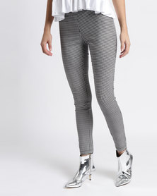 New Look Gingham Bengaline Trousers Grey