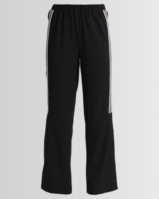 New Look Side Stripe Split Hem Trousers Black
