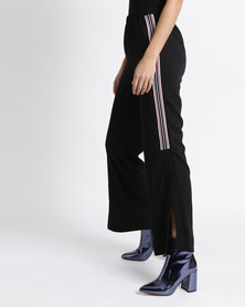 New Look Side Stripe Split Hem Trousers Black