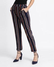 New Look Stripe Slim Leg Trousers Blue
