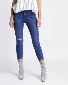 New Look Ripped Fray Hem Skinny Jenna Jeans Bright Blue