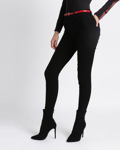 New Look Cut Off Hem Skinny Jenna Jeans Black