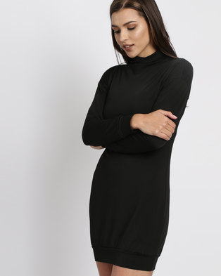 6c4f01eef6be Royal T Turtle Neck Bodycon Dress Black