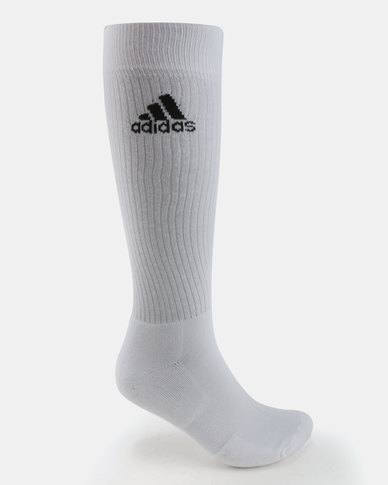adidas Performance Unisex 3 Socks Crew HC White Black  c71d5669b030