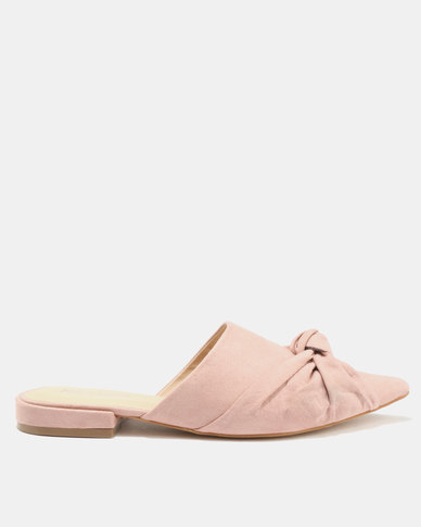 Public Desire Royal Knot Detail Slip On Mules Taupe