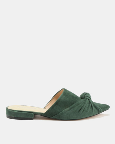 Public Desire Royal Knot Detail Slip On Mules Forest Green