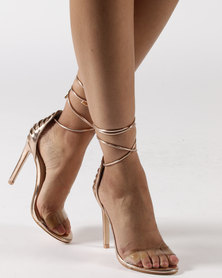 Public Desire Bare Lace Up Perspex Toe Barely There Heels Rose Gold