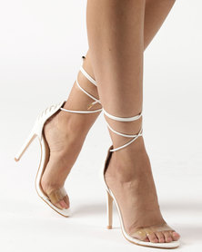 Public Desire Lace Up Perspex Toe Barely There Heel White