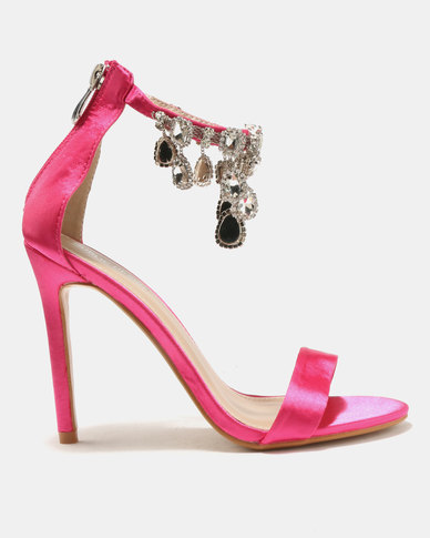 Public Desire Chai Ankle Gem Detail Barely There Heels Hot Pink