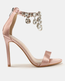 Public Desire Chai Ankle Gem Detail Barely There Heels Nude Satin