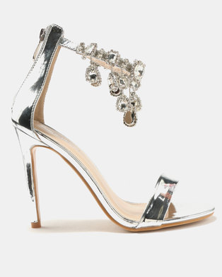 2345d27c0121 Public Desire Chai Ankle Gem Detail Barely There Heels Silver