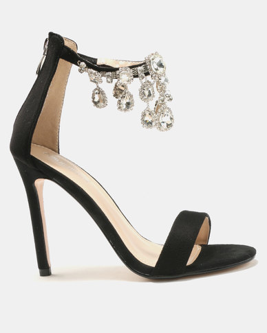 Public Desire Chai Ankle Gem Detail Barely There Heels Black