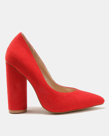 Public Desire Eternal Round Block Heels Court Shoes Red