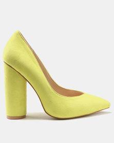 Public Desire Eternal Round Block Heels Court Shoes Yellow