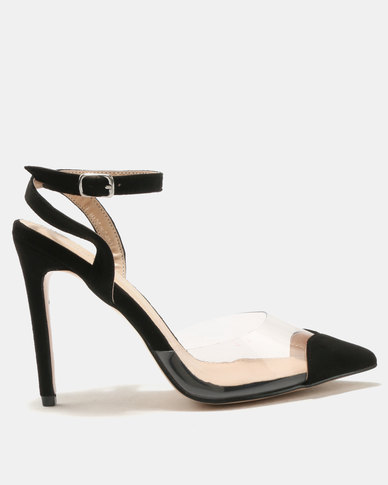 Public Desire Heart Throb Perspex With Heart Pointed Toe Heels Black ...
