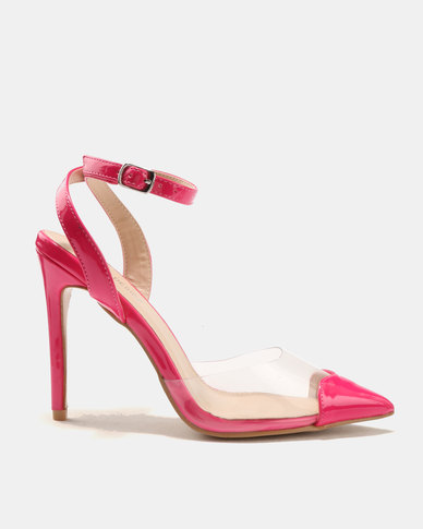 d0f8cbc8d81 Public Desire Heart Throb Perspex With Heart Pointed Toe Heels Pink ...