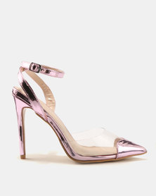 Public Desire Heart Throb Perspex With Heart Pointed Toe Heels Pink