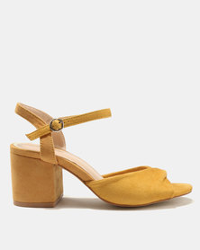 Public Desire Helix Low Heel Sandals Yellow