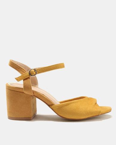 Public Desire Helix Low Heel Sandals Yellow
