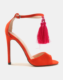 Public Desire History Tassel Detail Barely There Heels Orange/Pink