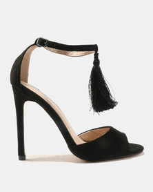 Public Desire History Tassel Detail Barely There Heels Tonal/Black