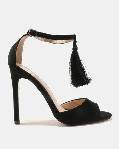 Public Desire History Tassel Detail Barely There Heels Tonal/Black
