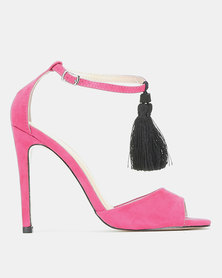 Public Desire History Tassel Detail Barely There Heels Taupe/Pink