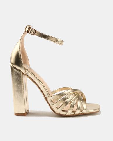 Public Desire Milan Strap Toe Detail Block Heels Gold
