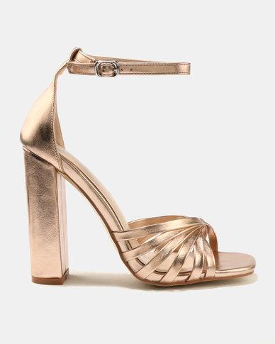 Public Desire Milan Strap Toe Detail Block Heels Rose Gold