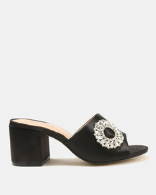 Public Desire Petal Silver Buckle Detail Heeled Sandals Black
