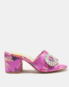 Public Desire Petal Silver Buckle Detail Heeled Sandals Pink