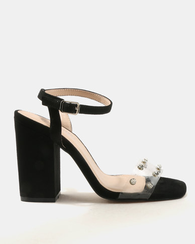 Public Desire Studio Perspex With Gems Detail Heeled Sandals Black