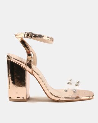 Public Desire Studio Perspex With Gems Detail Heeled Sandals Rose Gold