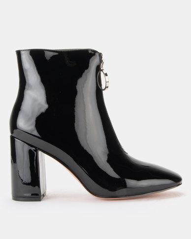 Public Desire Flashy Zip Front Patent Ankle Boots Black