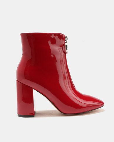 Public Desire Flashy Zip Front Patent Ankle Boots Red