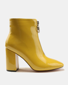 Public Desire Flashy Zip Front Patent Ankle Boots Yellow