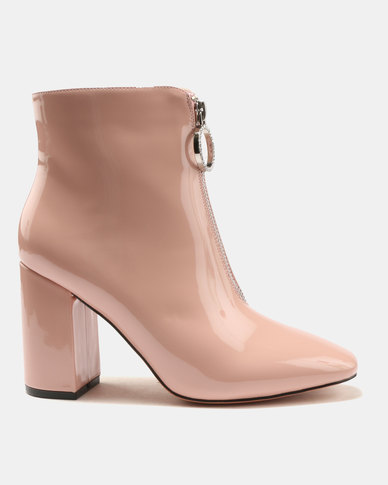Public Desire Flashy Zip Front Patent Ankle Boots Peach