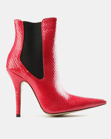 Public Desire Scorpio Sharp Point Toe Ankle Boots Red