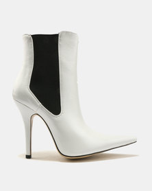 Public Desire Scorpio Sharp Point Toe Ankle Boots White
