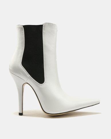 Public Desire Scorpio Sharp Point Toe Ankle Boots White